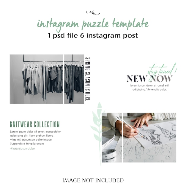 Modern, creative and stylish instagram puzzle, grid, collage template Premium Psd