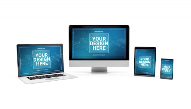 Modern devices on white background mockup Premium Psd