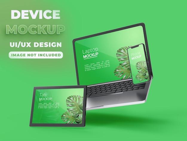 スマートフォンのラップトップとタブレットのモックアップを備えた最新のデバイス Premium Psd