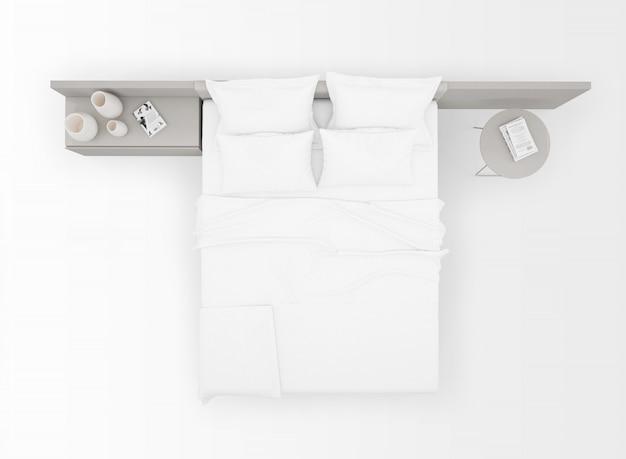 Современная двуспальная кровать макет, изолированные на вид сверху Бесплатные Psd
