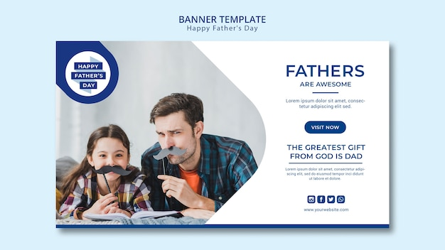 Modern father's day banner template Free Psd