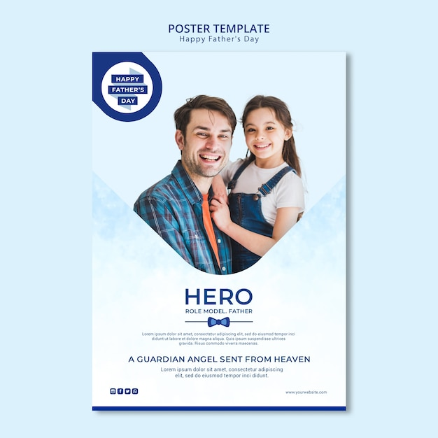 Modern father's day poster template Free Psd