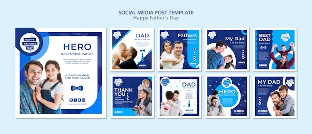 Modern father's day social media posts template Free Psd