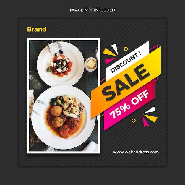 Modern food sale banner and instagram square post template design Premium Psd