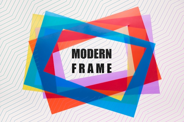 Modern frames mock-up in layers of colour Free Psd