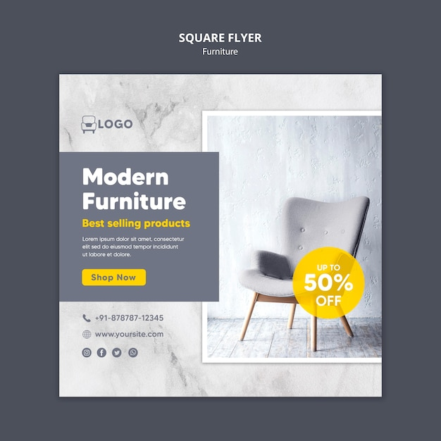 Volantino quadrato sconto mobili moderni Psd Gratuite