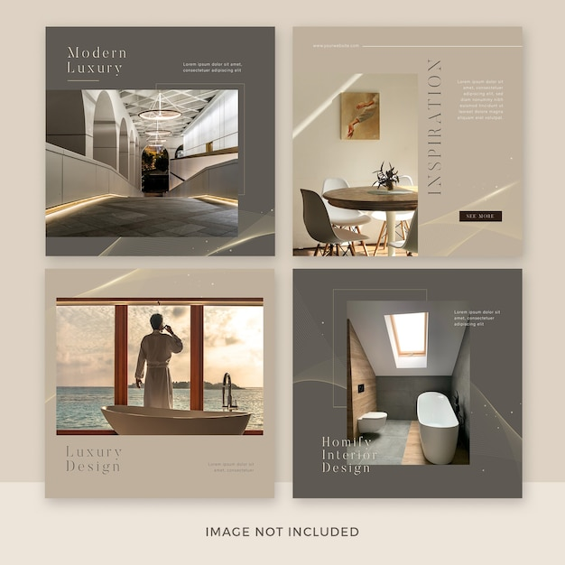 Modern furniture social media post template collection Premium Psd