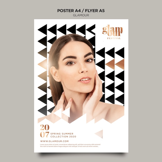 Modern glamour poster template Free Psd