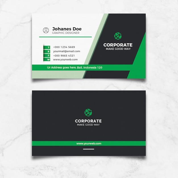 Modern green business card Premium Psd