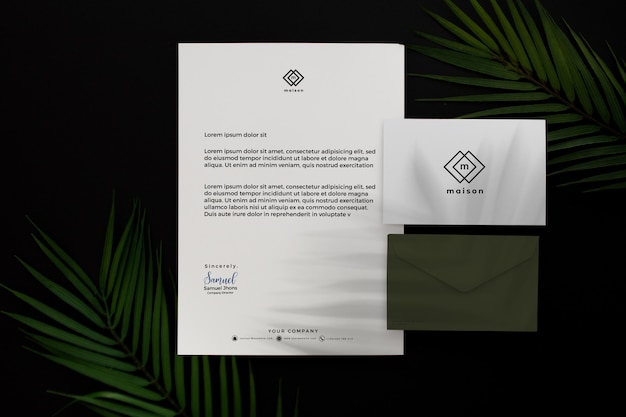 Modern green professional business stationery Free Psd