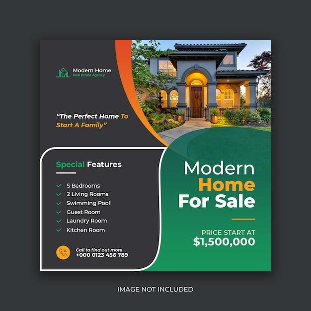 Современный дом продажа недвижимости социальные медиа баннер шаблон Premium Psd