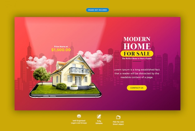Modern house for sale web banner template Premium Psd
