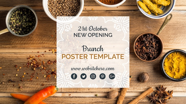 Modern indian food poster template Free Psd