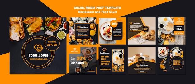 Modern instagram posts template for breakfast restaurant Free Psd