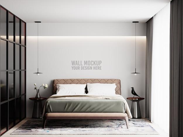 装飾が施されたモダンなインテリアベッドルームの壁のモックアップ Premium Psd