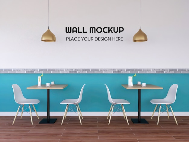 Modern interior cafe wallpaper mockup Premium Psd
