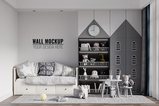 モダンインテリア子供寝室の壁のモックアップ Premium Psd