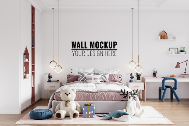 Современный интерьер детской спальни стены макет Premium Psd