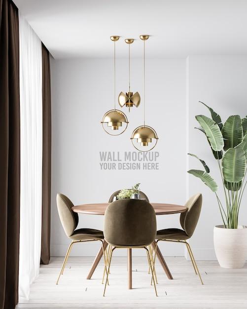 Modern interior dining room wall mockup with dark brown chairsm Premium Psd