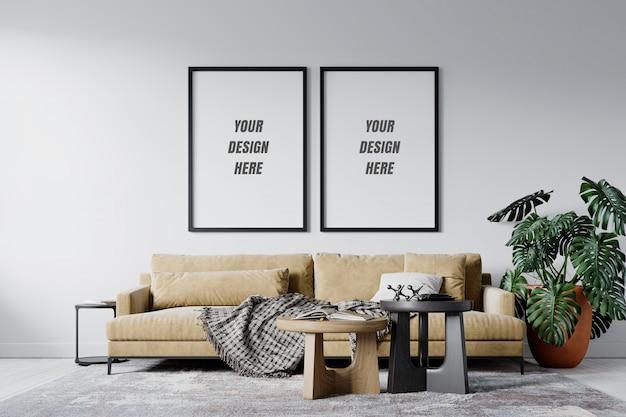 Modern interior living room frame and wall mockup Premium Psd