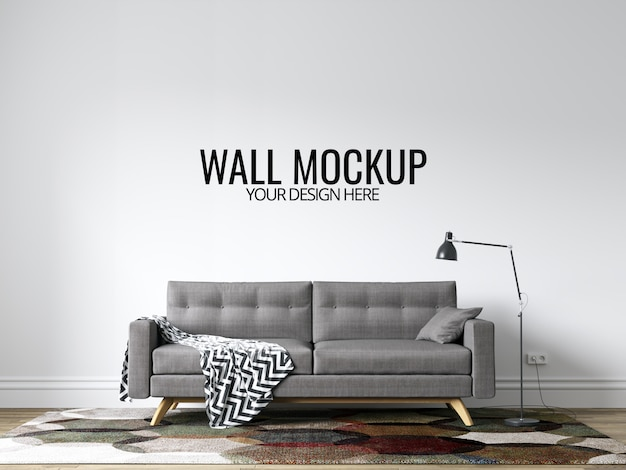 Modern interior living room wall background mockup with furniture and decor Premium Psd