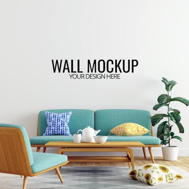 Modern interior living room wall mockup background Premium Psd