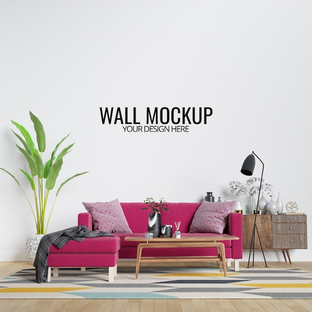 Modern interior living room wall mockup with furniture and decor Premium Psd