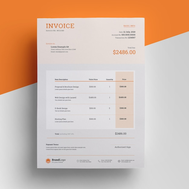 Modern invoice template with orange accent Premium Psd