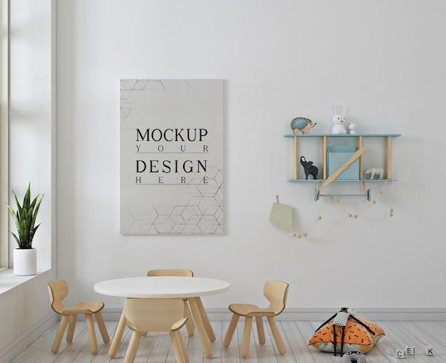 Modern kindergaten with poster mockup Premium Psd