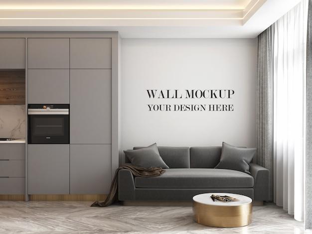 Modern kitchen room wall mockup with sofa Premium Psd