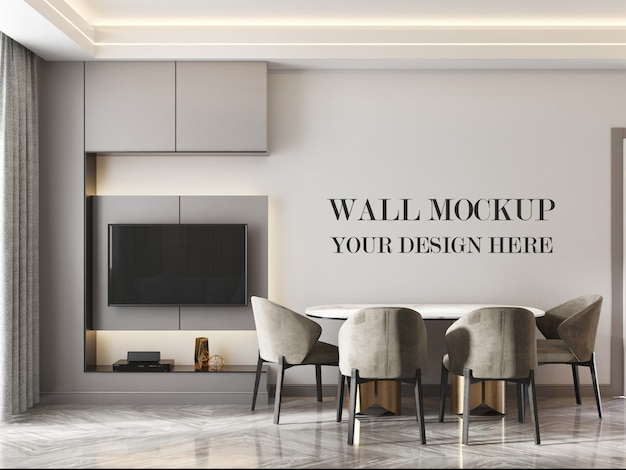 Modern kitchen room wall mockup with table and chairs Premium Psd