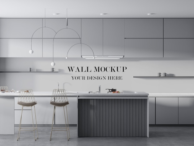 Modern kitchen wall mockup between furniture Premium Psd