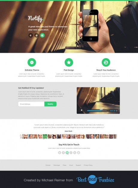 free mobile site template download - modern landing page template psd file free download