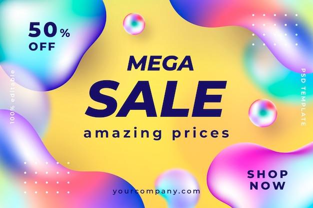 Modern liquid sale banner template Free Psd