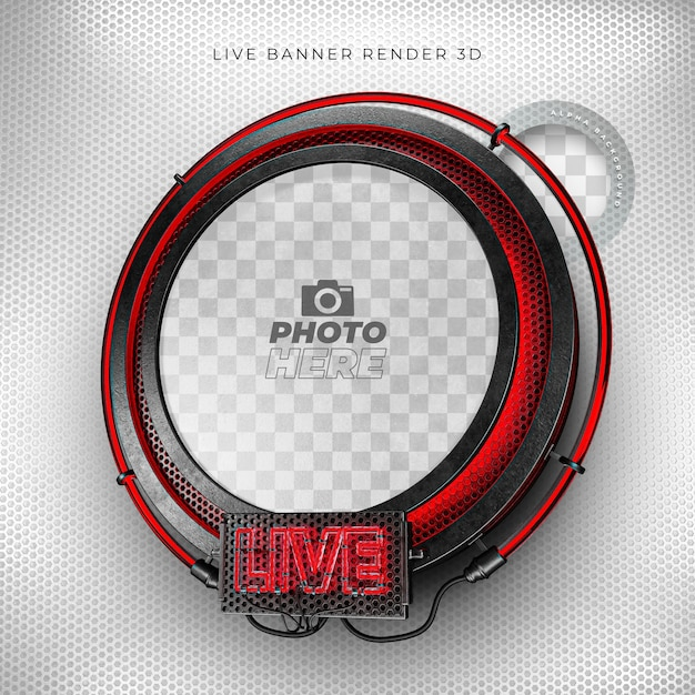 Modern live 3d realistic icon with neon and red and black grid Premium Psd