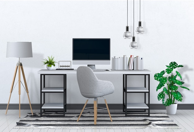 Premium Psd Modern Living Room Workspace With Desk And Desktop Computer