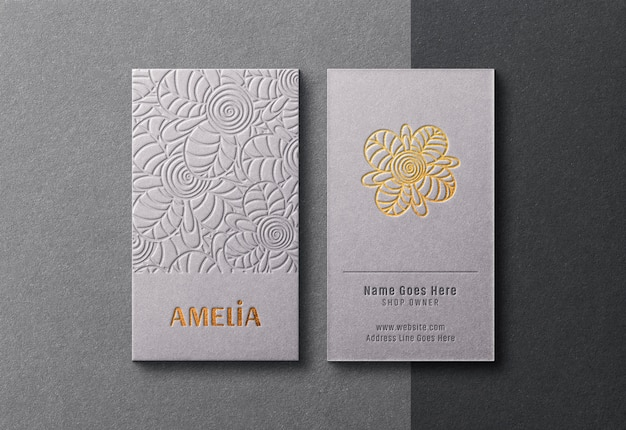 Modern and luxurious business cards mockup with golden letterpress effect Premium Psd