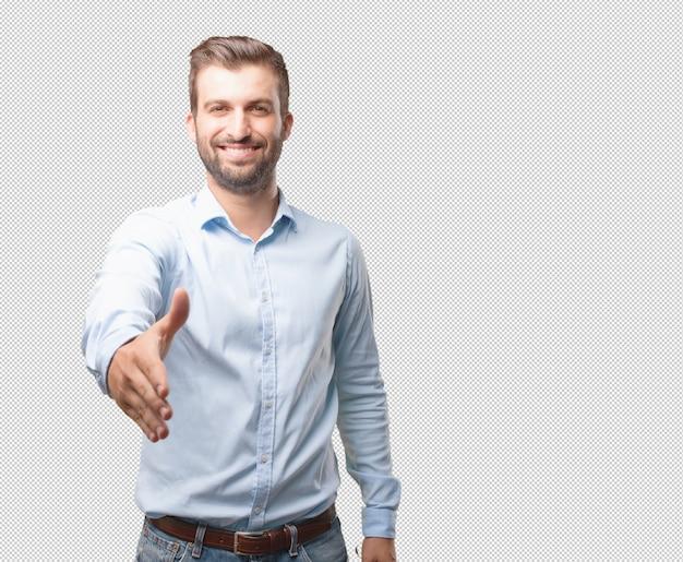Modern man reaching out hand Premium Psd