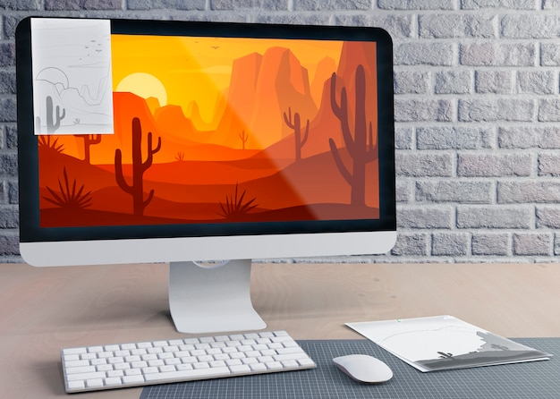 Modern monitor for work on desk Free Psd
