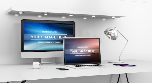 Modern office desktop with computer and devices mockup Premium Psd