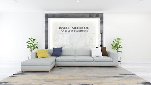 현대 사무실 로비 대기실 벽 로고 모형 프리미엄 PSD 파일