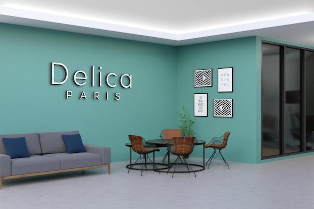 현대 사무실 벽 로고 모형 디자인 프리미엄 PSD 파일