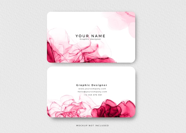 Modern pink alcohol ink business card Free Psd
