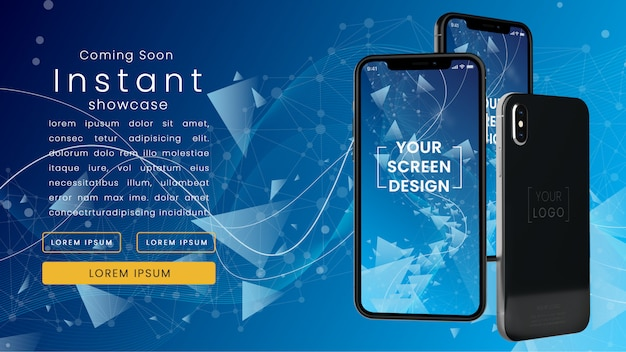 Modern, pixel perfect mockup of three realistic iphone x on a blue technological network with text template psd mock up Premium Psd