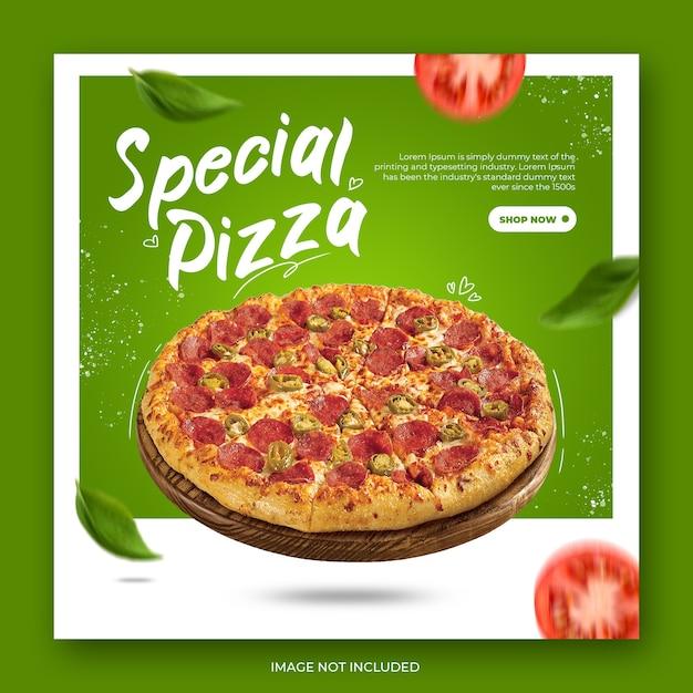 Шаблон поста в instagram с современной пиццей Premium Psd