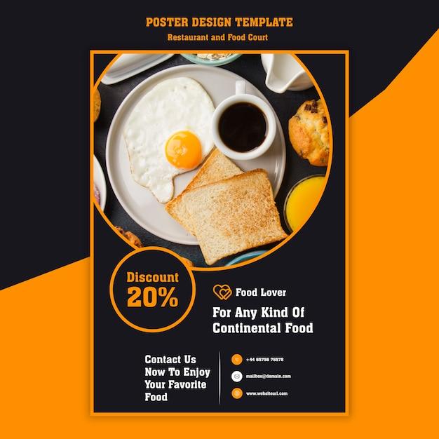 Modern poster for breakfast restaurant Free Psd
