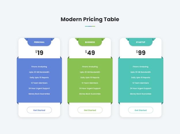 Современная таблица цен Premium Psd