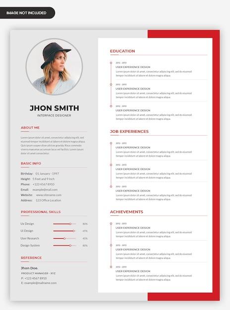 Современная профессиональная биография шаблона дизайна Premium Psd