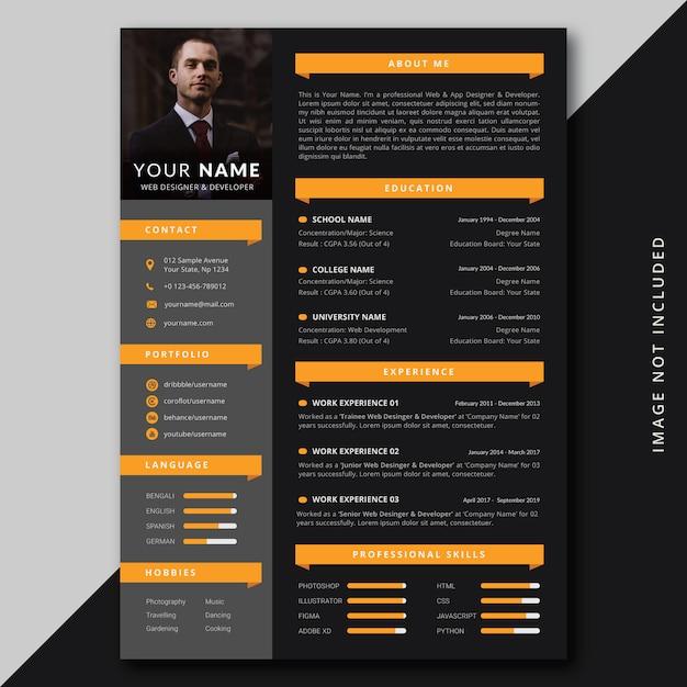 Modern professional resume cv template Premium Psd