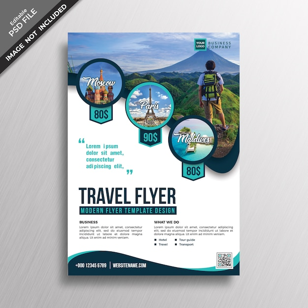 Modern professional travel style flyer design template PSD ...